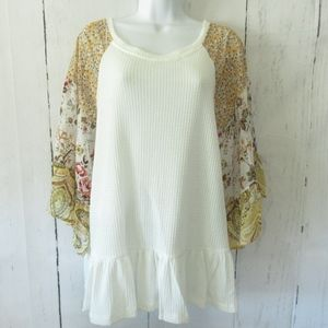 Umgee Top Waffle Knit Floral Paisley Bell Sleeve